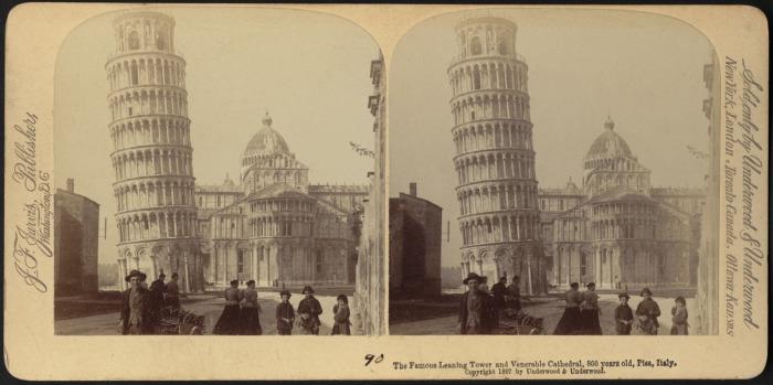 Пизанская башня на стереофотографии 1897 года. | Фото: digitalcommonwealth.org.