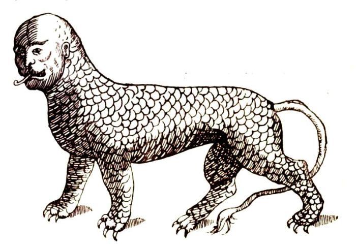 Существовала некоторая путаница относительно того, был ли Леонин водным или наземным существом. Гравюра XVII века. | Фото: biodiversitylibrary.org.