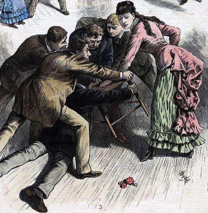 Коронный номер со стулом. Рисунок в «Иллюстрированной газете Фрэнка Лесли», 26 июля 1884 года.   Фото: georgiaencyclopedia.org.