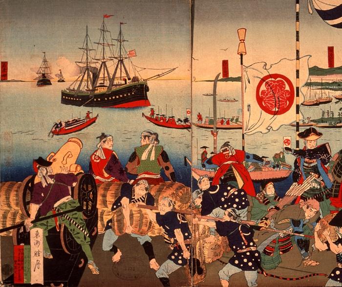 Флот Мэтью Пэрри (США) прибыл к берегам Японии. Фрагмент картины. | Фото: ru.wikipedia.org.