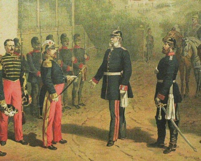 Французский император Наполеон III сдаётся в плен Бисмарку после битвы при Седане, 1870 год. | Фото: ru.wikipedia.org.