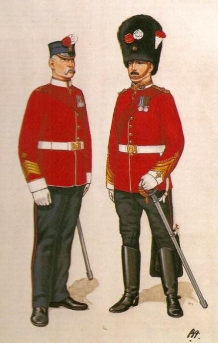 Полковой сержант-квартирмейстер и офицер Нортумберлендских стрелков, 1880-е годы. | Фото: gmic.co.uk.