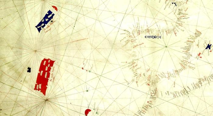Фрагмент карты Джованни Пиццигано с изображенными островами-призраками Антилия и Сатаназес, 1424 год. | Фото: ru.wikipedia.org.