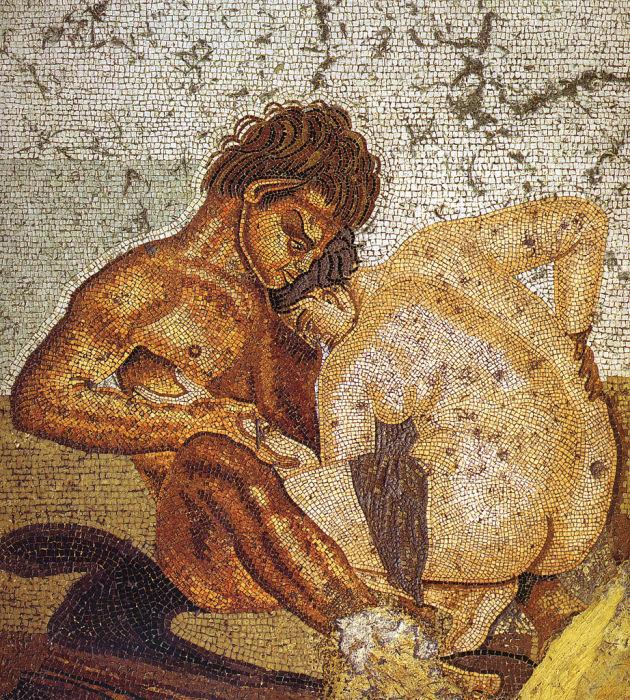 Сатир и нимфа. Мозаика в Доме Фавна, Помпеи. | Фото: commons.wikimedia.org.