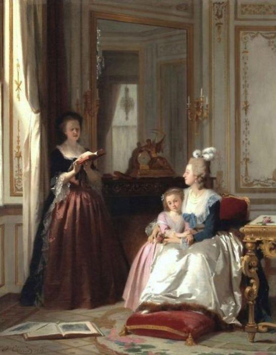 Принцесса де Ламбаль читает Марии-Антуанетте и ее дочери. | Фото: pinterest.com.