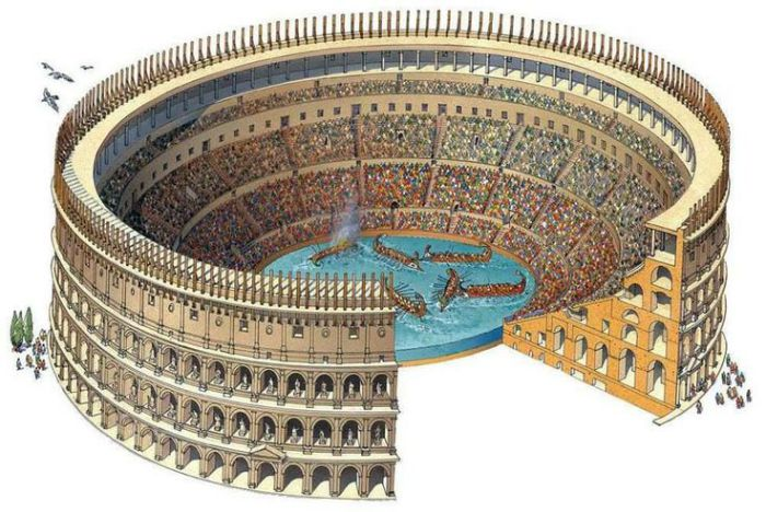 Римский Колизей во время проведения навмахии. | Фото: weaponsandwarfare.com.