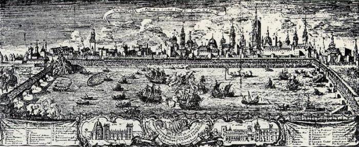 Морское сражение в разгаре. | Фото: commons.wikimedia.org.