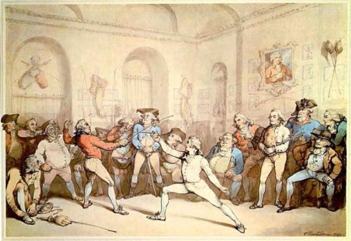Фехтовальный поединок с участием шевалье де Сен-Жоржа. Томас Роулендсон, 1787 г. | Фото: en.wikipedia.org.