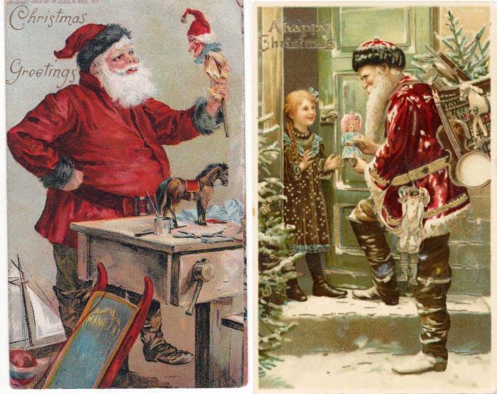 Санта Клаус на викторианских рождественских открытках.
