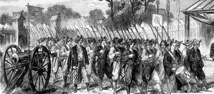 Солдаты Сёгуната Токугава на марше, 1864 год. | Фото: ru.wikipedia.org.