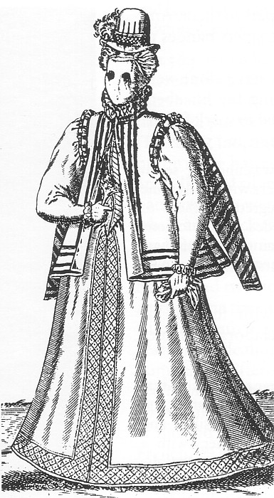 Английская дама в маске от солнца, 1581 год. | Фото: commons.wikimedia.org.