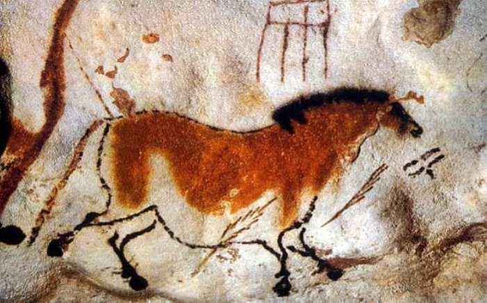 Изображение лошади на стене в пещере Ласко (Франция), 17000 лет до н.э. | Фото: telegraph.co.uk.