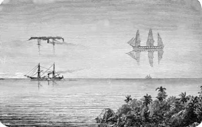 Фата-моргана «Летучего голландца». Иллюстрация XIX века. | Фото: en.wikipedia.org.