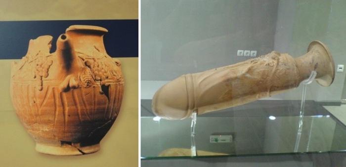 Предметы из древнегреческого борделя в Салониках. | Фото: atlasobscura.com.