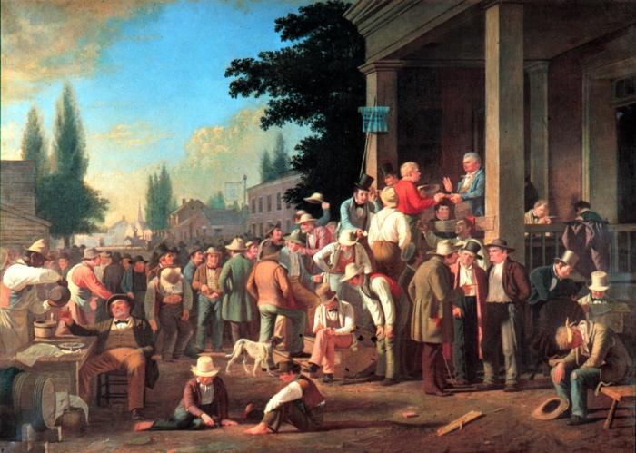 Выпивающие избиратели на картине «Выборы в округе» Джорджа Калеба Бингема,1846 год. | Фото: commons.wikimedia.org.
