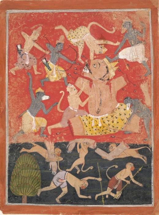 Смерть Кумбхакарна. | Фото: en.wikipedia.org.