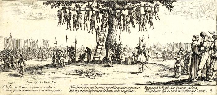 Массовое повешение. Гравюра 1632 года. | Фото: commons.wikimedia.org.