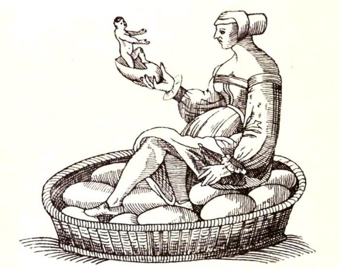Лунная Женщина рассматривает детеныша из ее потомства. Гравюра XVII века. | Фото: biodiversitylibrary.org.