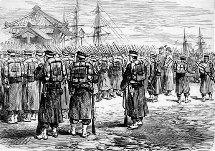 Имперские войска высаживаются в Йокогаме и готовятся идти в поход против восстания Сацума, 1877 год. | Фото: firedirectioncenter.blogspot.com.