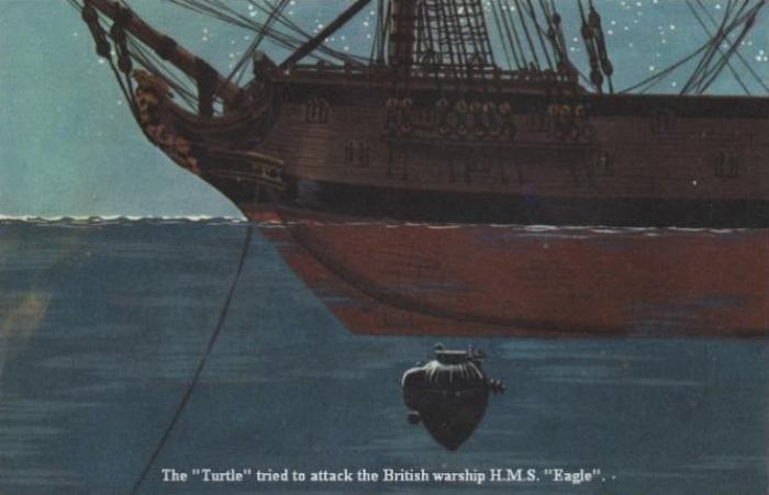 Американская подводная лодка «Черепаха» атакует британский линейный корабль HMS Eagle. | Фото: facta-nautica.graptolite.net.