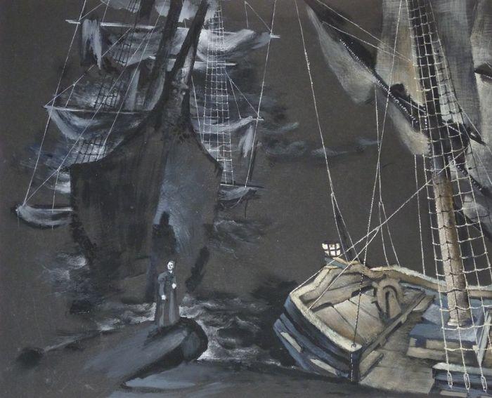Проект декораций для первого акта оперы «Летучий голландец» Рихарда Вагнера. Баварская государственная опера, 1950 год. | Фото: de.wikipedia.org.