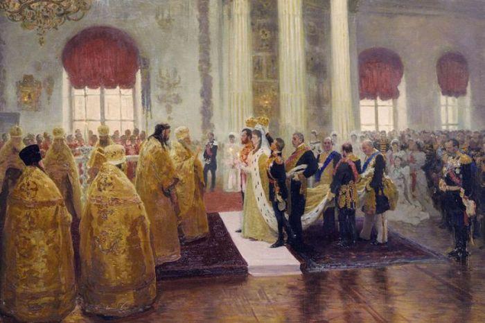 Венчание Николая 2 и Александры Федоровны. Репин И.Е., 1894 год.