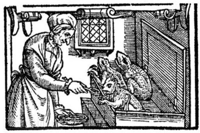 Ведьма XVI века кормит своих питомцев. | Фото: upload.wikimedia.org.