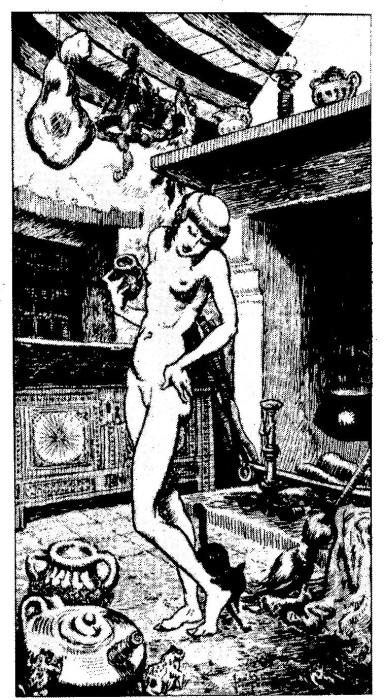 Французская ведьма готовится к полетам, намазывая себя мазью. Иллюстрация начала XVII в. | Фото: atlasobscura.com.