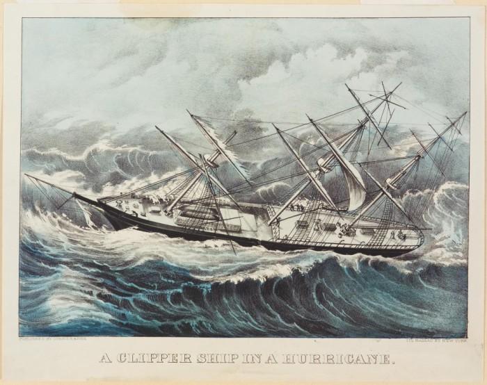 Клипер «Комет» попал в ураган возле берегов Бермуды, 1852 год. | Фото: springfieldmuseums.org.