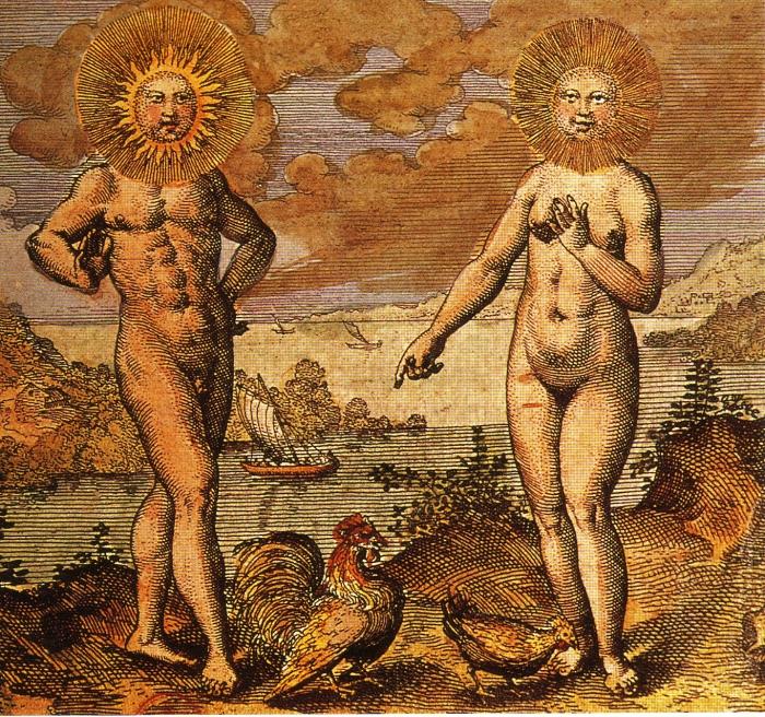 Солнце и Луна, олицетворяющие мужское и женское начала в алхимии. | Фото: aetherforce.com.