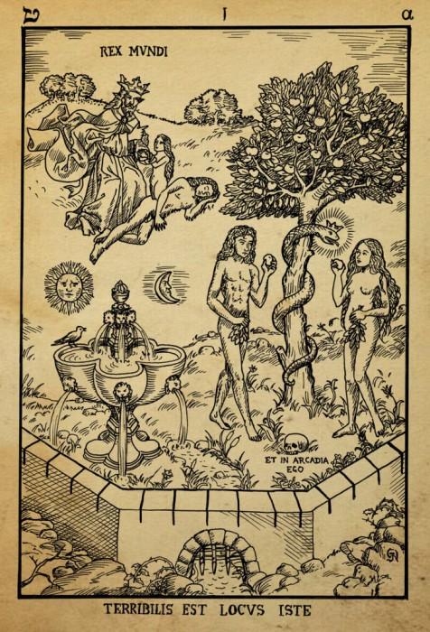 Гравюра на дереве, изображающая Райский сад, оккультные и алхимические символы. | Фото: aetherforce.com.