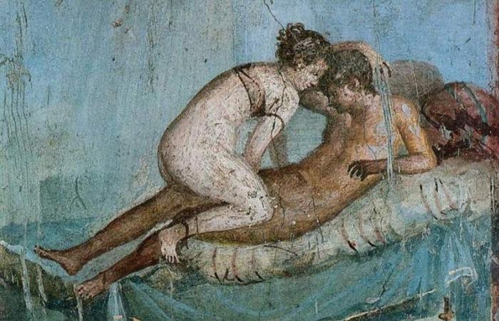 Эротическая фреска в Помпеях.   Фото: snesroms.ru.