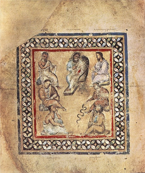 Группа врачей из греческой рукописи Венский Диоскорид. Одна из надписей упоминает гонорею. | Фото: en.wikipedia.org.