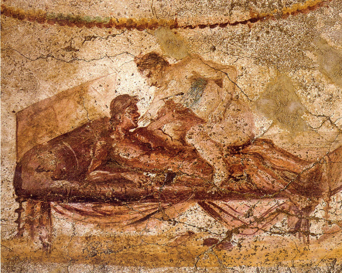 Настенная живопись в Лупанарии - борделе в городе Помпеи. | Фото: commons.wikimedia.org.