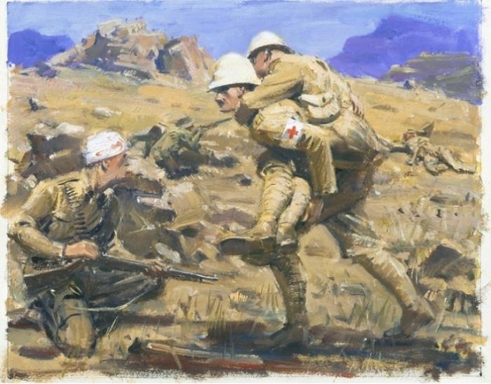 Солдаты эвакуируют раненого бойца. Англо-бурская война. | Фото: awm.gov.au.