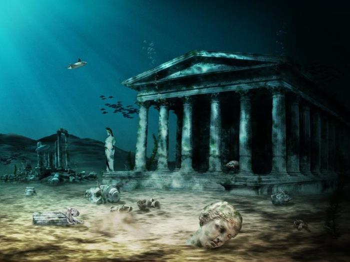 Классическое представление Атлантиды как греческого города, скрытого под толщей воды. | Фото: yaplakal.com.