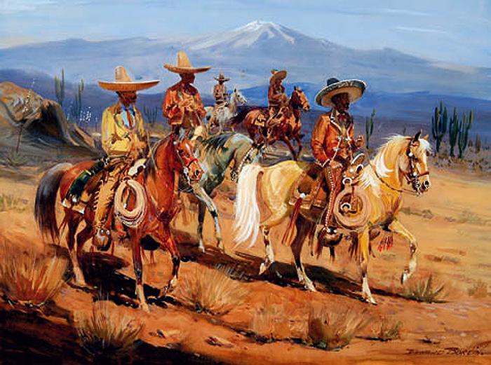 Мексиканские всадники, XIX век. Художник Morgan Kane. | Фото: pinterest.com.