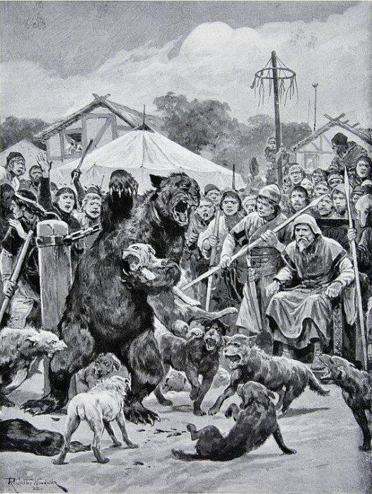 Травля медведя в саксонскую эпоху. Ричард Кейтон Вудвиль, 1920 год. | Фото: commons.wikimedia.org.