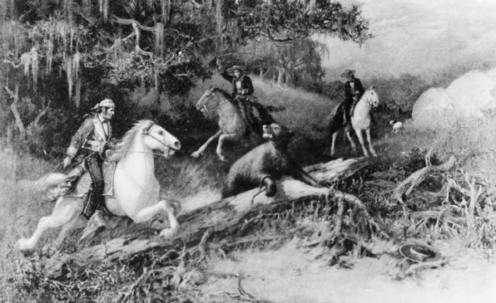 Ловля медведя арканом. А.Ф. Хармер, 1855 год. Фото: digitallibrary.usc.edu.