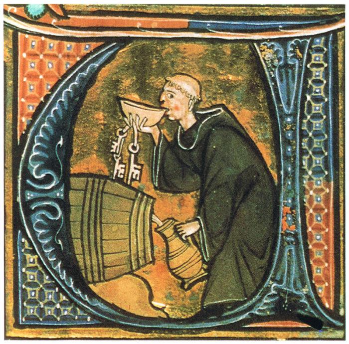 Средневековый монах дегустирует вино или пиво, конец XIII века. | Фото: en.wikipedia.org.