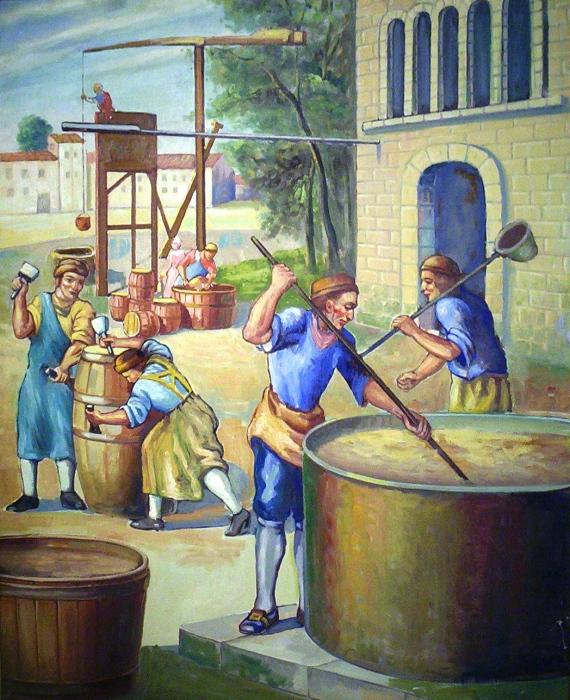 Процесс приготовления пива. | Фото: brewingmuseum.org.