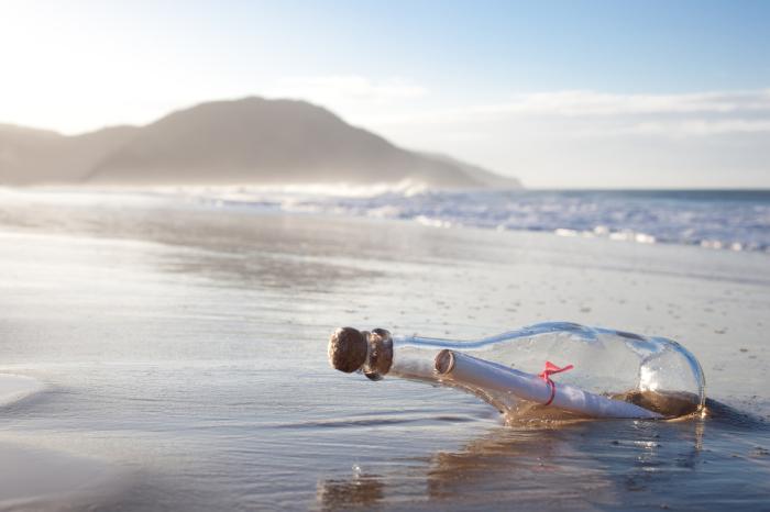 Бутылка с посланием, выброшенная на берег. | Фото: panoramajournal.org.