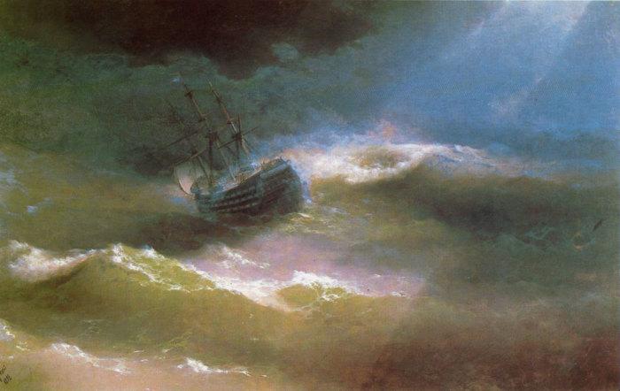 Корабль «Императрица Мария» во время шторма. Айвазовский И.К., 1892 год. | Фото: see-art.ru.