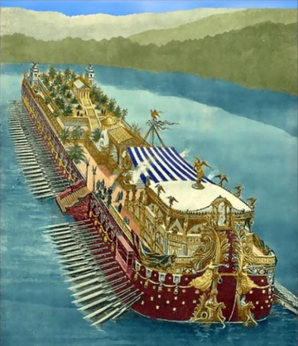 Художественная реконструкция корабля озера Неми. | Фото: hubpages.com.