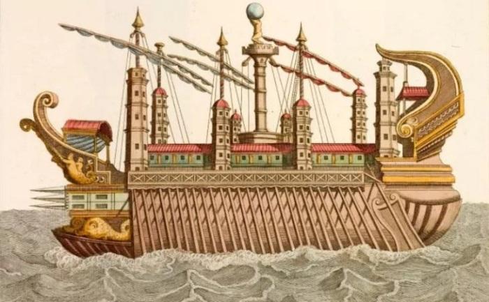 Римская галера императора Калигулы. Рисунок ХVIII века. | Фото: telegraph.co.uk.