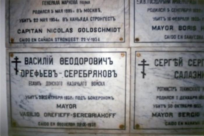 Мемориальная доска над могилой русских офицеров в православной церкви в Асунсьоне.   Фото: dbelyaev.ru.