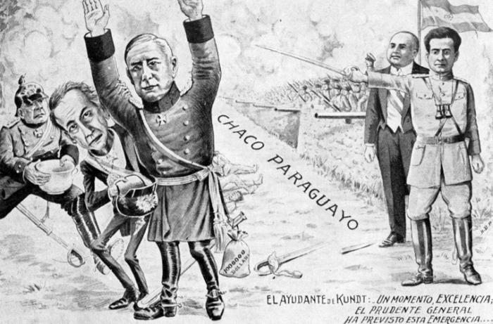 Парагвайская карикатура на немецких офицеров, возглавляющих боливийскую армию.   Фото: warfarehistorian.blogspot.com.