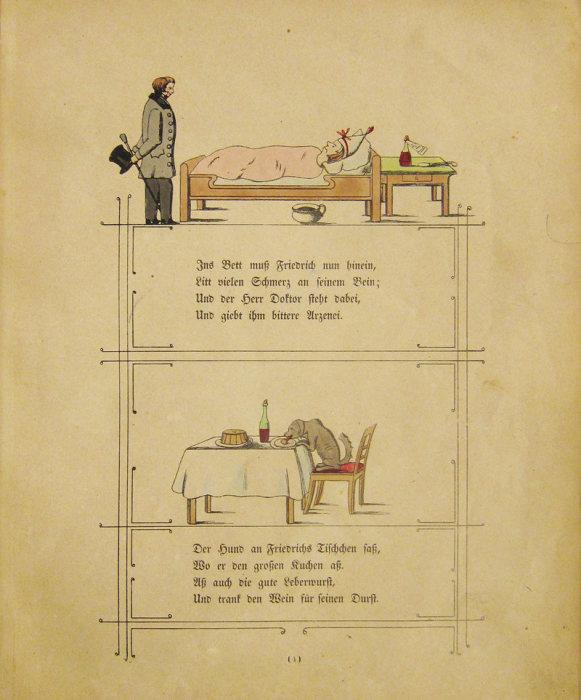 Наказание вредному мальчику: он болеет в постели, а собака ест из его миски. | Фото: atlasobscura.com.