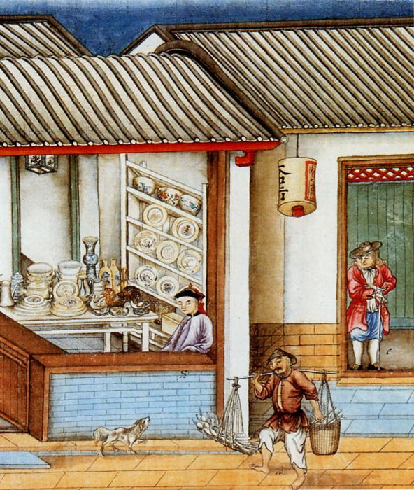 Лавка, торгующая китайским фарфором в Кантоне. | Фото: wikiwand.com.