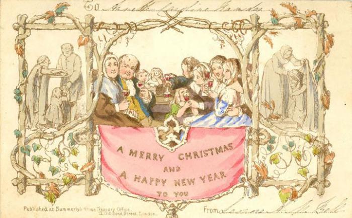 Первая в мире рождественская открытка. | Фото: alisonhomestead.wordpress.com.